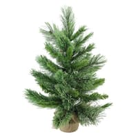 "24"" Mixed Cashmere Pine Artificial Christmas Tree in Burlap Base - Unlit - brown"