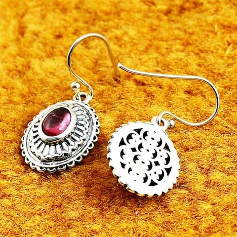 Sapphire, Topaz, Ruby, Tourmaline Sterling Silver Oval Dangle Earrings by Orchid Jewelry