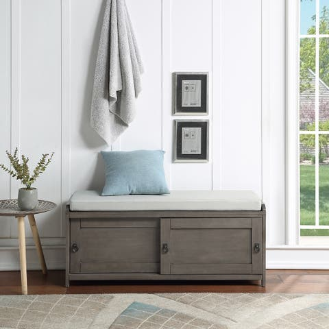 Homes Storage Wood Storage Bench with 2 Cabinets