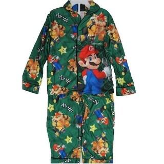 Super Mario Little Boys Green Cartoon Inspired 2 Pc Pajama Set 4-6
