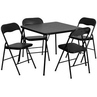 "Rivera 5pcs 34"" Square Folding Table w/4 Metal Chair Set"
