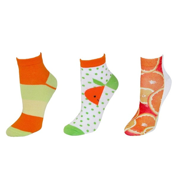 Ecko Women's Novelty Fruit Print Low Cut Socks Pack of 3 Pair