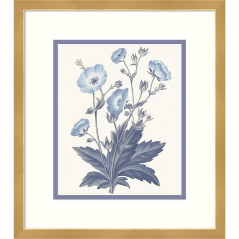 Framed Wall Art Print Blue Botanical VI by Wild Apple Portfolio 15.00 x 17.00-inch
