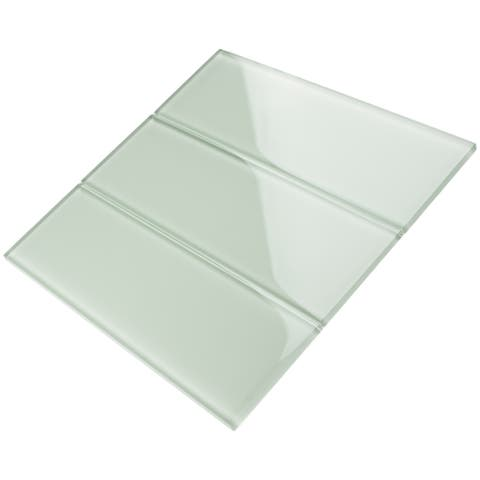 "TileGen. 4"" x 12"" Glass Subway Tile in Mint White Wall Tile (30 tiles/10sqft.)"