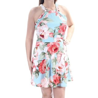Womens Aqua Pink Floral Sleeveless Above The Knee Dress Size: 15