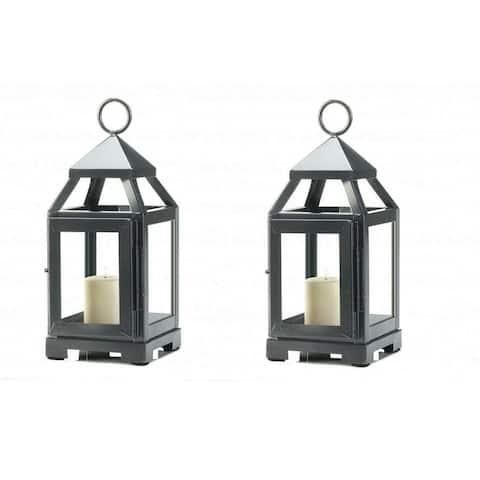 Set of Silver 2 Mini Modernized Lanterns