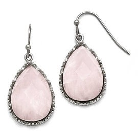 Chisel Stainless Steel Polished Rose Quartz Shepherd Hook Earrings
