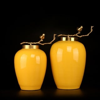 G Home Collection Luxury Yellow Solid Color Accent Porcelain Jar With Copper Branch Lid