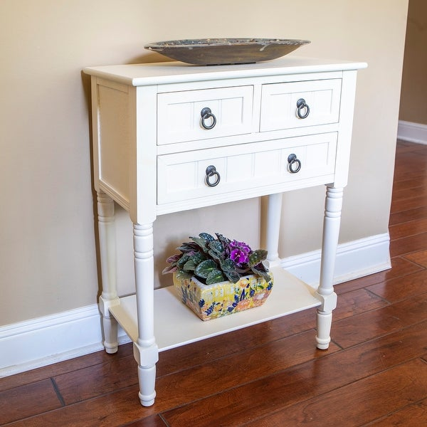 Simplify 3-drawer Wood Console Table. Opens flyout.