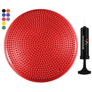 "Wacces 13"" Athletic Inflatable Massage Balance Stability Fitness Cushion Disc to Improve Balance & Flexibility, Red"