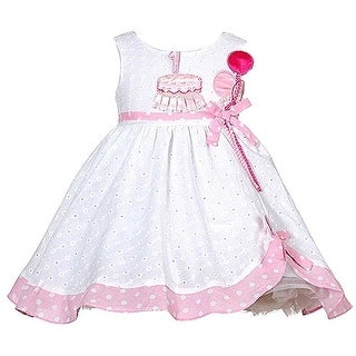 Baby Girls White Pink Balloon Boutique 1st Birthday Dress 12-24M (2 options available)