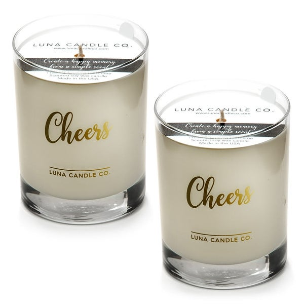 Highly Scented Fresh Peach Belini Candle, Premium Soy Way (2 Pack)