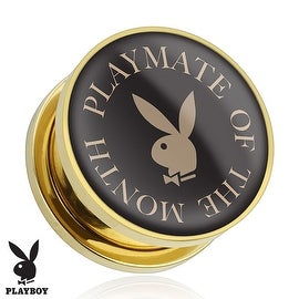 """""""Playmate of The Month"""" Playboy Bunny Logo Print Gold Plated Screw Fit Plug (Sold Individually) (More options available)"""