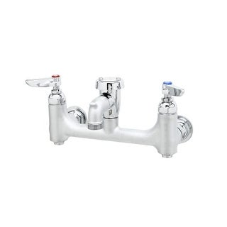 """T and S Brass B-0674-BSTR Wall Mounted Service Sink Faucet with 8"""" Centers, Vacu"""