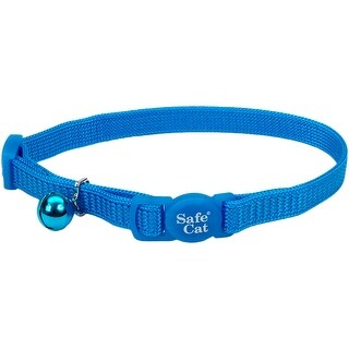 "Safe Cat 3/8"" Adjustable Snag-Proof Nylon Breakaway Collar-Blue Lagoon"