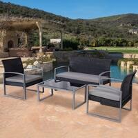 Costway 4 PCS Outdoor Patio Garden Black Rattan Wicker Sofa Set Furniture Cushioned - as pic