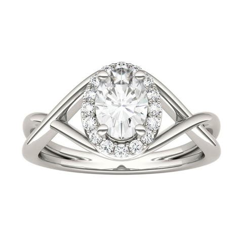 14k White, Yellow, or Rose Gold Moissanite by Charles & Colvard Twisted Shank Oval Halo Ring 1.06 TGW