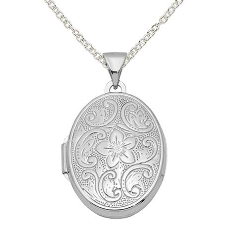 Sterling Silver Oval Floral Locket with 18-inch Cable Chain by Versil
