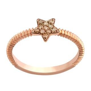 Prism Jewel 0.08Ct Round Brown Diamond Star Shaped Fancy Ring