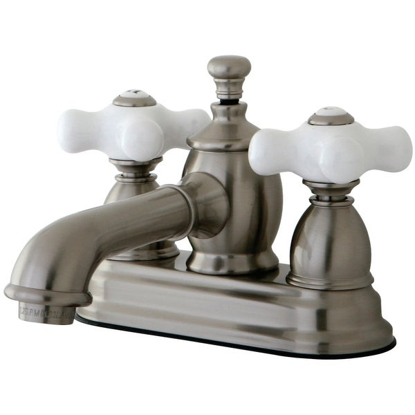 Kingston Brass KS700.PX English Country 1.2 GPM Centerset Bathroom Faucet with Pop-Up Drain Assembly and Porcelain Cross