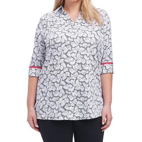 Foxcroft Womens Plus Butterfly Button Down Shirt