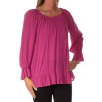 INC Womens Purple Long Sleeve Jewel Neck Top  Size: S