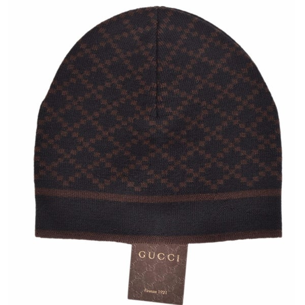 Shop Gucci 281600 Men s 100% Wool Diamante Black   Brown Beanie Ski Hat -  Free Shipping Today - Overstock.com - 12036672 5d2a467c10fc