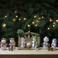 """Set of 2 Brown and White Native Christmas Themed Snowman Figures 6.25"""""""