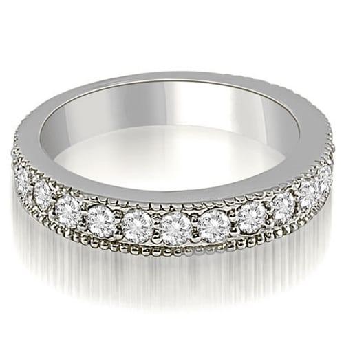 1.05 cttw. 14K White Gold Antique Milgrain Round Cut Diamond Wedding Ring