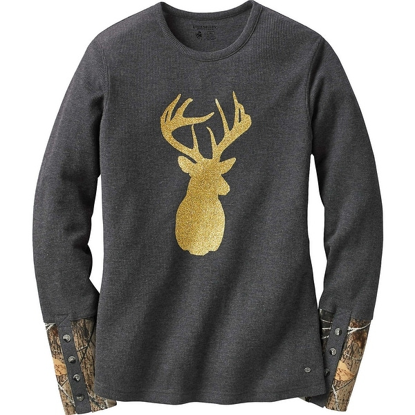 Legendary Whitetails Ladies Huntress Gold Glitter Buck Crew Neck Thermal - Charcoal Heather