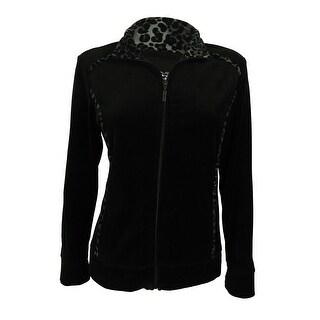 Style & Co. Women's Animal Print Velour Zip-Front Jacket - petite