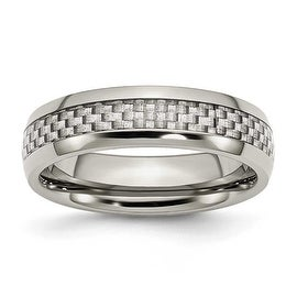 Chisel Stainless Steel and Grey Carbon Fiber 6mm Polished Band
