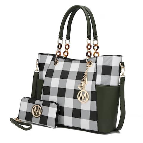MKF Collection Bonita Checker Tote Bag & Wallet Set by Mia K.