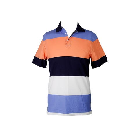 Club Room Blue Short-Sleeve Colorblocked Polo Shirt S