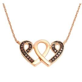 Cognac Diamond Twin Heart Pendant Rose Gold 1/10cttw 10K With 18inch Necklace Set 11X18mm Size