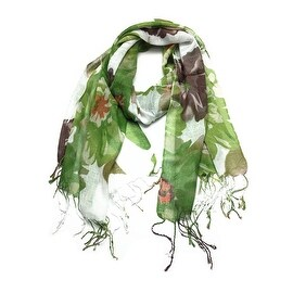 Women's Fashion Floral Soft Wraps Scarves - F2 Green
