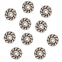 TierraCast Silver Plated Pewter Twist Edge Heishe Spacer Beads 6mm (10)