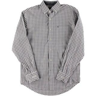 Izod Mens Button-Down Shirt Cotton Plaid