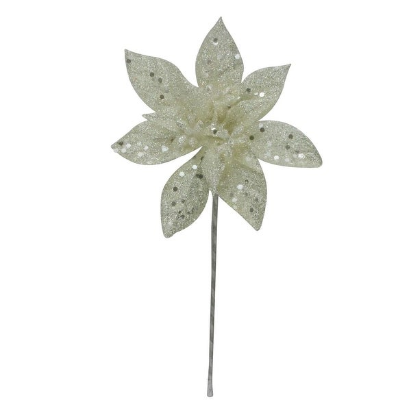 "11"" White Glitter Poinsettia Flower Artificial Christmas Spray Pick"
