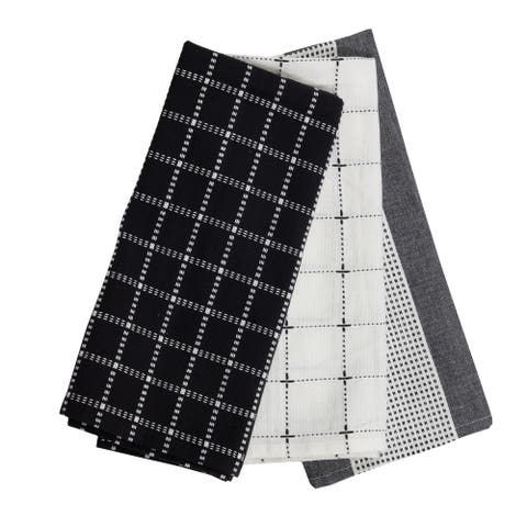 Foreside Home & Garden Set of 3 Black Check Pattern 27 x 18 Inch Woven Kitchen Tea Towels