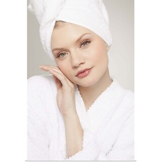 """""""Portrait of young woman wrapped in white towel"""" Poster Print"""