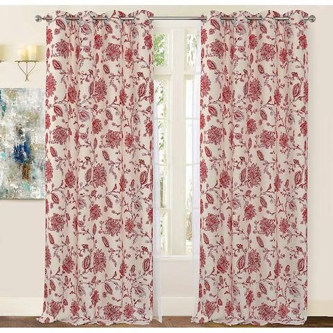 Porch & Den Oleson Jacobean Floral Linen Blend Blackout Curtain Panel Pair