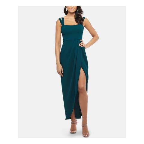 XSCAPE Green Spaghetti Strap Full-Length Dress 12