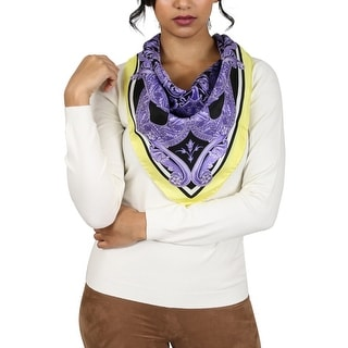 Versace Purple Barroco Medusa Print Silk Foulard Scarf - 34-34