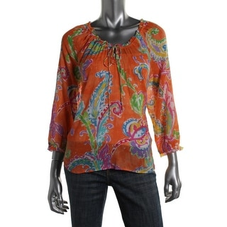 LRL Lauren Jeans Co. Womens Pullover Top Printed 3/4 Sleeves - xs