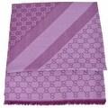 Gucci 281942 XL Wool Silk Lilac Plum GG Guccissima Logo Scarf Shawl Wrap - Thumbnail 0