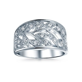 Bling Jewelry Milgrain Style CZ Leaves Band Leaf Ring 925 Sterling Silver