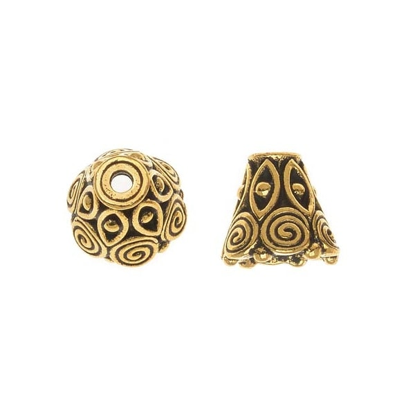 TierraCast 22K Gold Plated Pewter Spiral Cone Bead Caps 8.5mm (x 2)