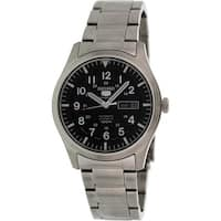 Seiko Men's 5 Automatic  Black Stainless-Steel Self Wind Fashion Watch