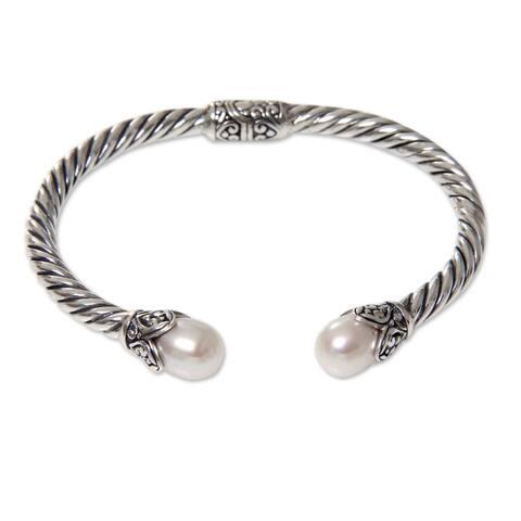 NOVICA Cotton Blossom, Cultured pearl cuff bracelet